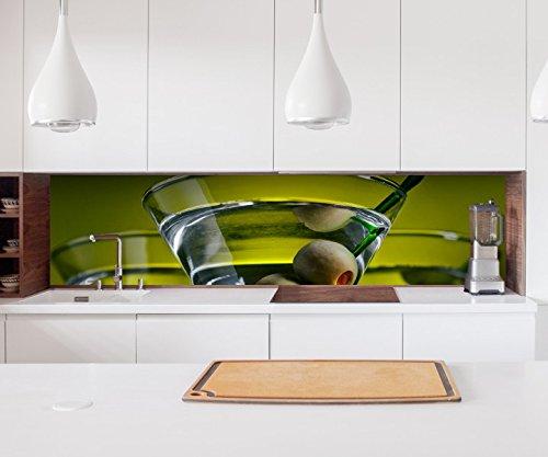 Aufkleber Küchenrückwand Wermut Olivenöl Oliven Wein Glas Gläser Folie selbstklebend Dekofolie Fliesen Möbelfolie Spritzschutz 22A1205, Höhe x Länge:60cm x 400cm