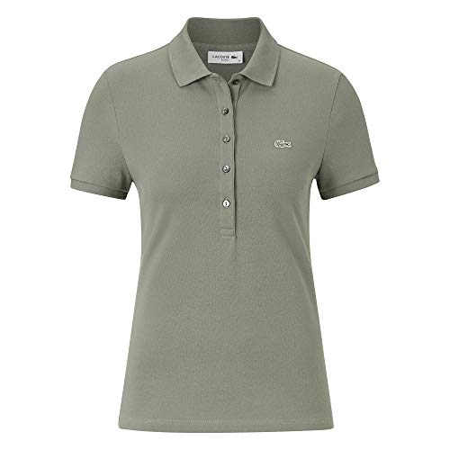 Lacoste Damen Polo Shirt Kurzarm PF7845,Frauen Polo-Hemd,5 Knopf,Slim Fit,Sergeant(FKM),46 EU