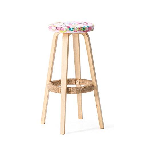 Stile semplice, legno solido, cuscino morbido del modello, bar sedia alta creativa sedia in legno in stile europeo sgabello da bar vintage vintage 69cm (colore : c)