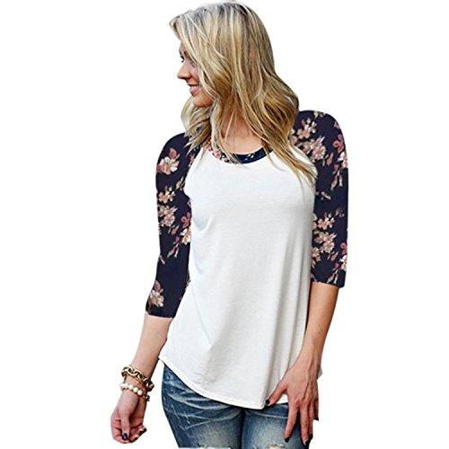 Minetom Femme Automne Casual Col Rond Fleur Blouse T-shirt Lâche Chemise Tops Blanc