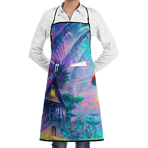 Psychedelic Trippy Grill Aprons Kitchen Chef Bib - Professional for BBQ Baking Cooking for Men Women Pockets red Apron