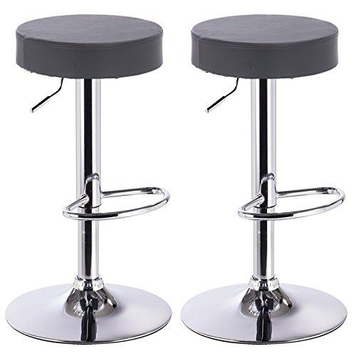 Woltu bh20gr-2 sgabelli da bar sedia cucina con schienale imbottito poggiapiedi similpelle cromato altezza regolabile girevole moderni classici grigio coppia set 2
