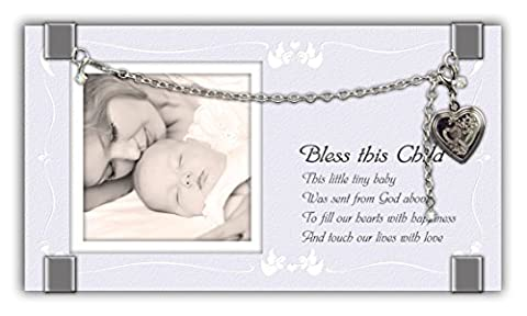 Cathedral Art GF204 Bless This Child Glass Frame with Heart Locket and Bracelet, 6-3/4 by
