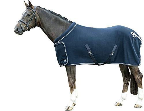 HKM 7224 Fleecedecke mit Kragen, Pferdedecke Stalldecke Weidedecke, Dunkelblau, 155 cm