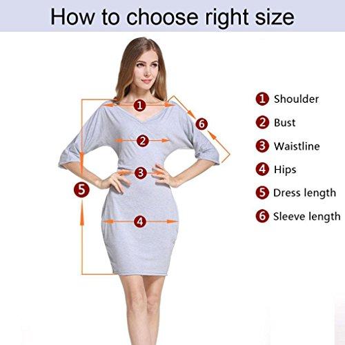 Robe pour femme,Tonwalk Manche longue Dentelle O-Neck Svelte Fête Mini robe Gris