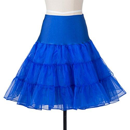 Lyshi 50er Petticoat Vintage Retro Reifrock Unterrock für Wedding bridal Rockabilly Kleider Königsblau