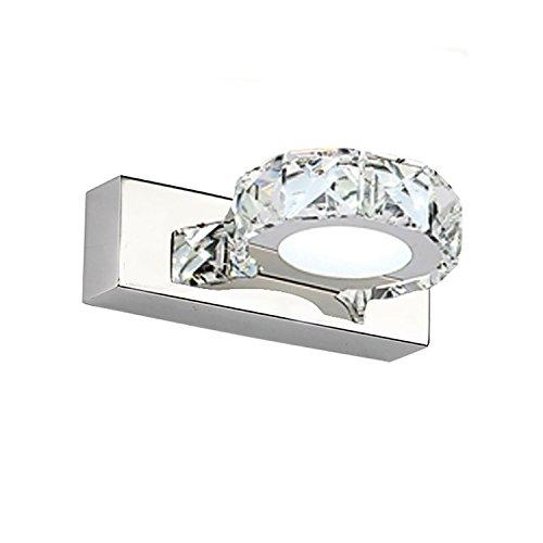 Yaeer led lampada applique da parete luce cristallo decorativo lampada specchio specchio bagno 3w 160lumen luce step cool white