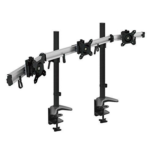 HFTEK 3-Fach-Monitorarm-Halterung Halter Tischhalterung für 3 Monitore von 15 - 34 Zoll mit Tisch-Klemmsystem - VESA-Lochmuster 75 / 100 (MP230C-XL) -