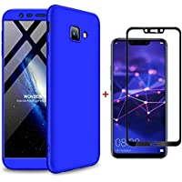 Ttimao Samsung Galaxy J4 Plus Hülle PC Hardcase [Hartglas Glas Display Schutzfolie] Scratch und Shockproof Ultradünne 360 Grad Full-Cover Case 3-in-1-Schutzhülle (Blau)
