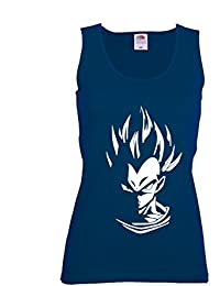 GIOVANI & RICCHI Damen Super Vegeta Blaue Haare Fitness Shirt T-Shirt Tank Top Saiyajin God modus in verschiedenen Farben