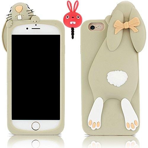 Vandot 2et1 Mode Bande dessinée 3D Rabbit Lapin Gris Buck Dents de Silicone Souple Coque Case Cover Etui Housse Pour Apple Iphone 4 4S TPU Protection Hull + Red Rabbit Bouchon Anti-poussière Plug Anti Lapin-Grey