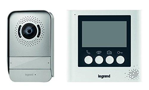 Legrand, Video-Türsprechanlage mit 2-Draht-Anschluss, 4,3 Zoll Farbmonitor und Weitwinkelkamera, 1-/2-Familienhaus-Set, 369110