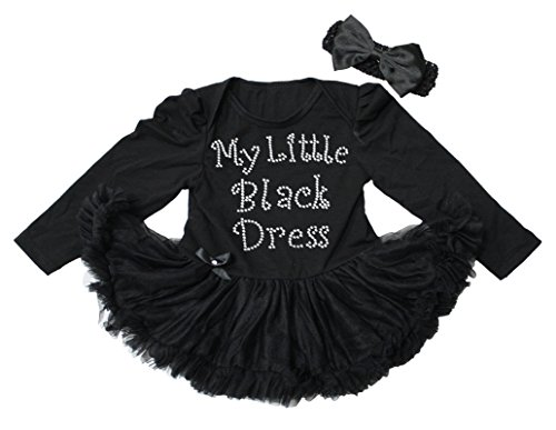 Petitebelle My Little Black Dress Long Sleeve Bodysuit Tutu Baby Clothing Nb-18m (12-18 Monats)