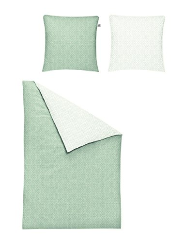 Irisette Mako Satin Bettwäsche Bio 2 teilig Bettbezug 140 x 200 cm Kopfkissenbezug 70 x 90 cm Pine 315067-30 Mint