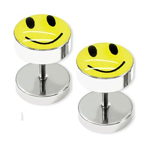 SoulCats® 1 par de Fakeplugs acero inoxidable finge Tapones Fakepiercing smiley