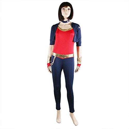 JNTworld Mädchen Superwoman Outfit Cosplay Kostüm Partei Halloween Jumpsuit, M, (Kinder Superwoman Kostüm)