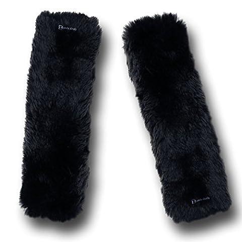 Zento Deals doux imitation peau de mouton pour ceinture de sécurité à bandoulière Noir Pad- deux Packs- un Must Have pour tous les propriétaires de voiture pour une conduite plus confortable