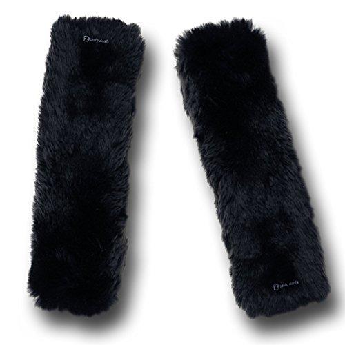 Preisvergleich Produktbild Zento Deals Weiches Kunstfell-Sicherheitsgurt schwarz Schulter Briefblock Frühlingsblumenzwiebel Zwei Ein Muss für alle Autobesitzer für eine Fahrkomfort