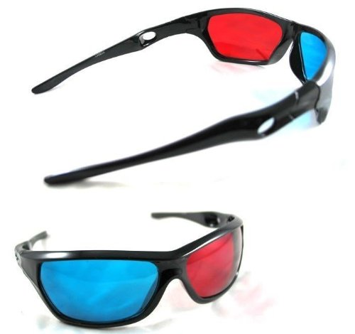 Gioiabazar Red Blue Cyan Plastic 3D Reusable Sporty General Glasses For TV Movie DVD