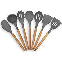 Silicone Kitchen Utensil Set by Baker Boutique - Non Scratch Cooking Utensils Including Soup Spoon, Spaghetti Spoon, Spatula,Spoon, Spatula, Scraper 7PCS