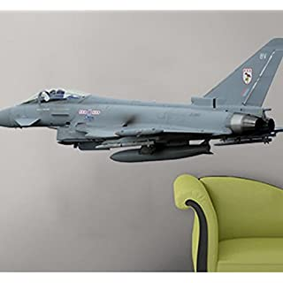 Large Eurofighter Typhoon F2 Fighter wall stickers,Removable Wall Sticker/Wall Decal, Military themed Peel and stick wall art