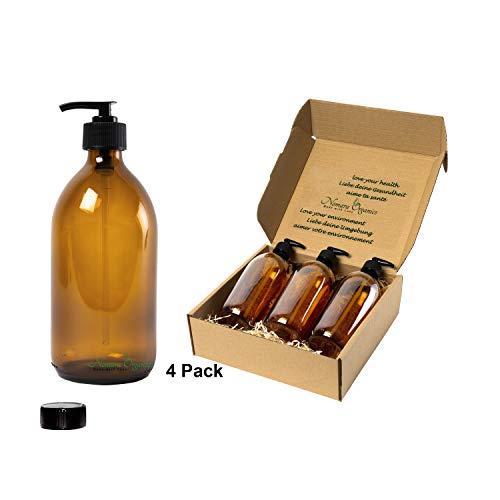 Nomara Organics® Seifenspender 4 x 300 ml Bernstein Glas Verpackt auf Stroh, BPA-frei, verschließbare Pumpen, Kappen. Wiederverwendbar, Gesicht/Handwäsche/Lotion/Bad oder Küche - Gesicht, Aromatherapie-dusche