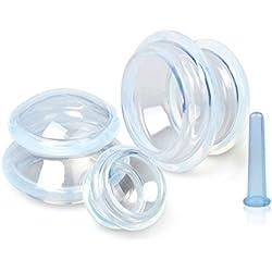 Schröpfen Silikon,Axixn 4 Stück Schröpfen Cellulite Set Schröpfglas Silikon Schropfglaser Silikon Anti Cellulite Vacuum Cup Schönheitstherapie-Massage