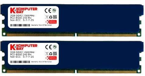 Komputerbay 4GB 2X2GB DDR2 PC2 8500 1066Mhz 240 Pin DIMM 4 GB KIT - kommt mit Heat Spreader für zusätzliche Kühlung, farblich sortiert -