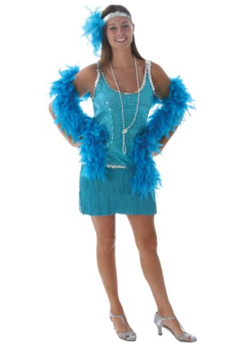 Plus Sequin & Fringe Turquoise Flapper 5X