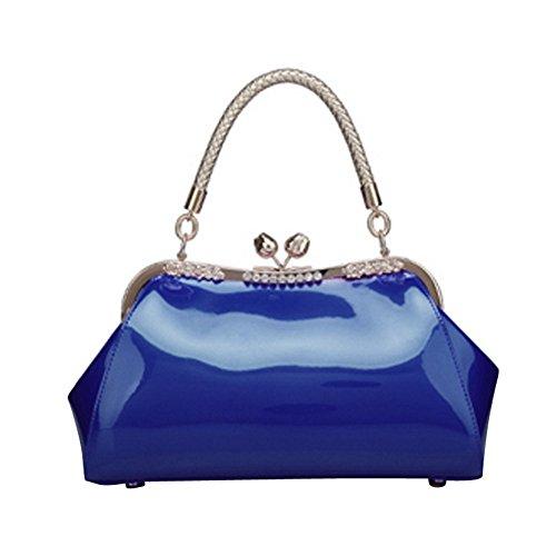 WTUS Damen Arbeiten Sie Glanzleder Handtasche Tragbaren Schulter Diagonal Tasche Brautbeutel Abendessen Heiraten Beuteltote Blau