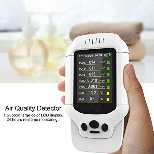 CVERY Luftqualitätsmonitor, Indoor Formaldehyd (HCHO) Detektor, PM2.5/1.0/10, TVOC, Temperatur und Luftfeuchtigkeit, mit 7,1 cm LCD-Display, weiß, Free Size