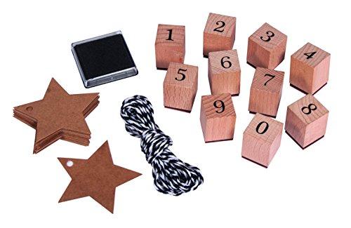 Rayher 68048000 Stempel Set Zahlen 0-9, inkl. Stempelkissen, Garn und Stern-Anhänger, 38-teilig -