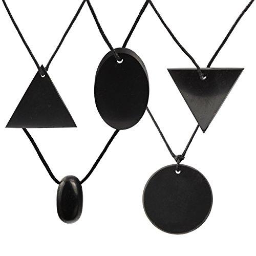 Shungite Set de regalo de 5 piezas de colgantes - triángulo, triángulo reverso, gota, círculo y óvalo - calidad auténtica garantizada - protección contra la radiación electromagnética