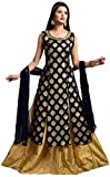 Radhe Fashion Jacquard Gown for women A-Line Style Black with Gold Lehnga and Dupatta (Free Size)