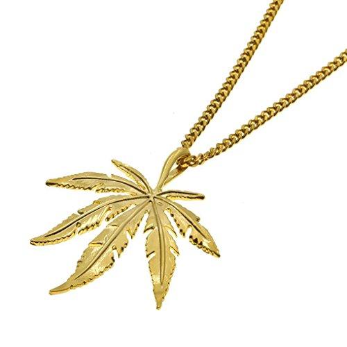 Mens Maple Leaf Hip Hop Anhänger Halsketten Gold-Farbe Legierung Paar Halskette Schmuck Minzhi (Farbe Halskette)