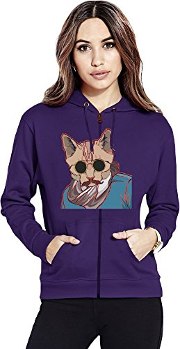 Hipster kitty Womens Zipper Hoodie X-Large
