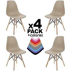Pack 4 sillas, Silla de Comedor, Salon, Cocina o Escritorio, Acabado en Madera de Haya, Dimensiones: 47 x 56 x 81 cm de Altura (Arena)