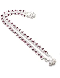 Jewar Mandi Anklet Branded Silver Plated Multi AD New Stylish Fashion Real Diamond Look Beauty Natural Payal 6590 for Womens Girls