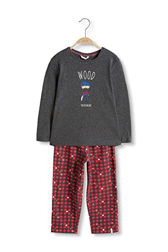 ESPRIT Bodywear Jungen Zweiteiliger Schlafanzug 076EF8Y002, Grau (Dark Grey 020), 116 (Herstellergröße: 116/122)