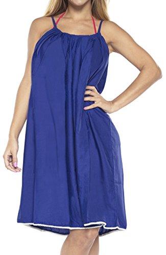 Bademoden Slip sundress Vertuschung Kleid ärmellos Gurt Spaghetti Knielänge Cami Damen Top Tunika hyper blau