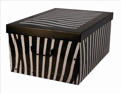 XXL Dekokarton mit modernem ZEBRA Muster in Schwarz und Weiß. Edel und hochwertig! Mit Griffen zum Tragen und XXL