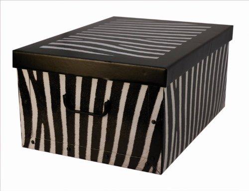 XXL Dekokarton mit modernem ZEBRA Muster in Schwarz und Weiß. Edel und hochwertig! Mit Griffen zum Tragen und XXL Volumen! (Deckel Mit Papier-boxen)