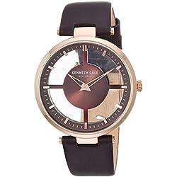 Kenneth Cole New York - Reloj de cuarzo para mujer, acero inoxidable y cuero, color marrón (modelo: KC15004008)