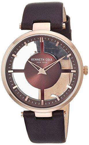 Kenneth Cole New York orologio al quarzo in acciaio INOX e pelle casual da donna, colore: marrone (Model: KC15004008)