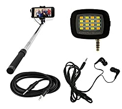 MuditMobi Combo Pack Selfie Stick With Selfie Flash Light & Earphone, Aux Cable For Samsung Galaxy J7 (2016)