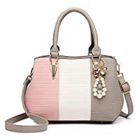 Miss Lulu Women Designer Top Handle Bag Fashion Colour Block Shoulder Bag with Pearl and Crystal Style Drop (6866 Grey)