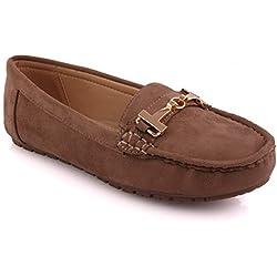 Unze Neue Frauen 'Tauziehen' Metall Trim Büro Arbeit Schule Casual Moccasin Pumps Loafer Flache Schuhe UK Größe 3-8 - 6Z666-4