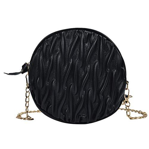 Mode Frauen Plissee Print Solid Color Chain Zipper Messenger Bag Umhängetasche Damen Tasche Leder Handtasche Schultertasche Henkeltaschen Tote Tragetaschen Mini Handbag (Schwarz) -