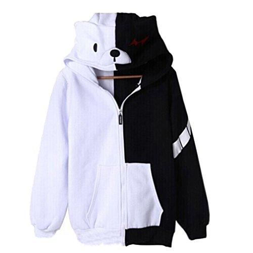 SHINING EASYBUY Anime Monokuma Warm Hoodie Coat Costume (S Height:155-160cm, Winter Warm)
