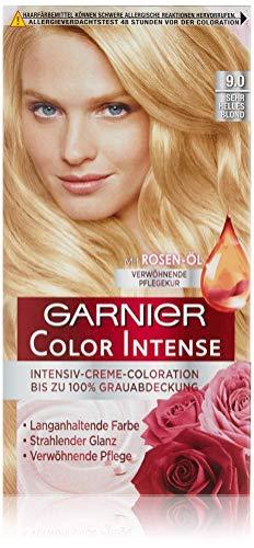 Garnier Color Intense, 9.0 Sehr Helles Blond/Dauerhafte Intensive Creme Coloration für permanente Haarfarbe (mit Perlmutt und Traubenkernöl)
